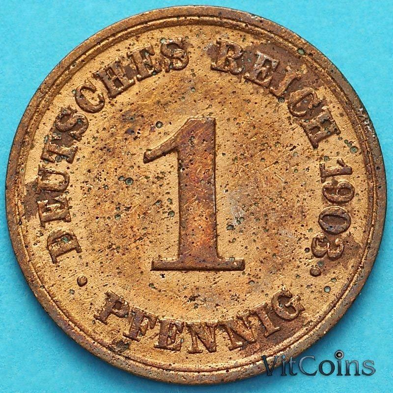 Монета Германия 1 пфенниг 1903 год. Е.