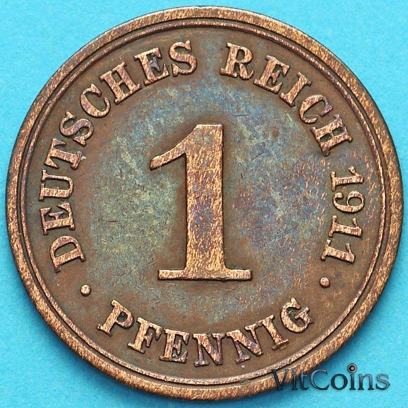 Монета Германия 1 пфенниг 1911 год. F.