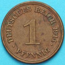 Германия 1 пфенниг 1914 год. Е.