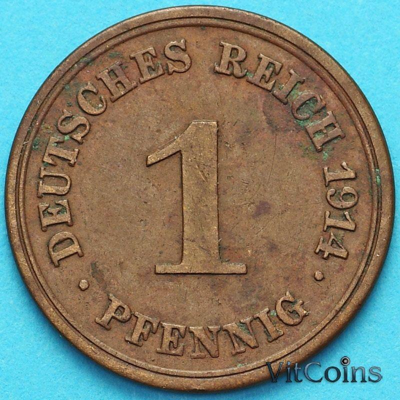 Монета Германия 1 пфенниг 1914 год. Е.