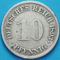 Германия 10 пфеннигов 1893 год. F.