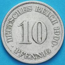 Германия 10 пфеннигов 1900 год. J.
