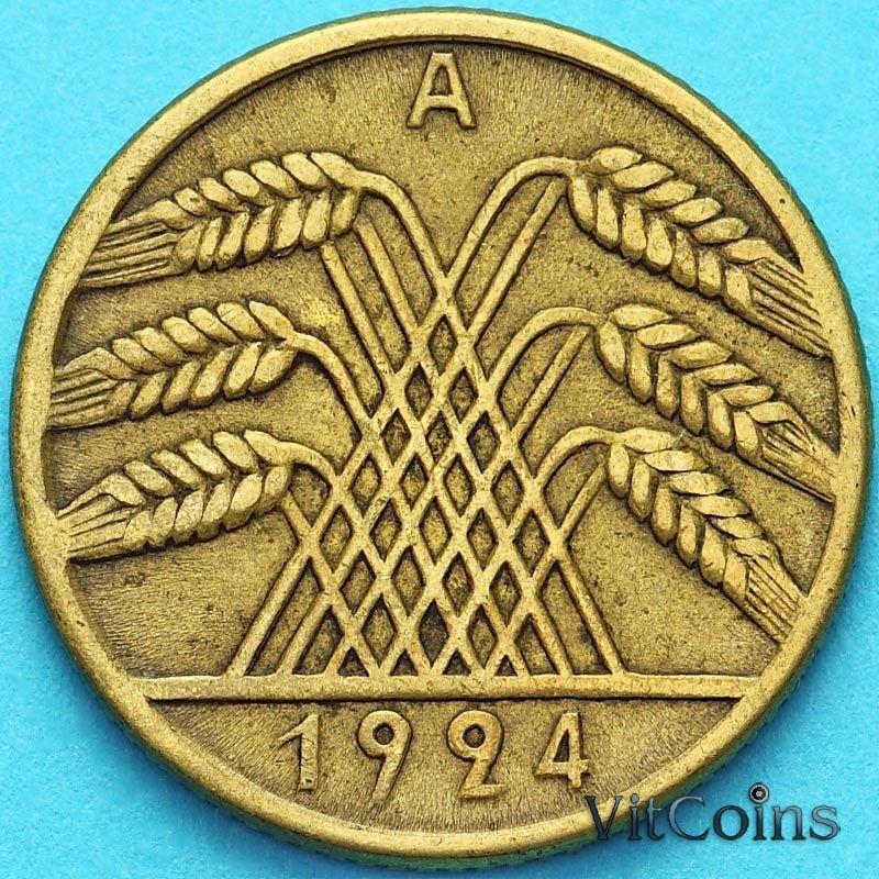 Монета Германии 10 рентенпфеннигов 1924 год. А