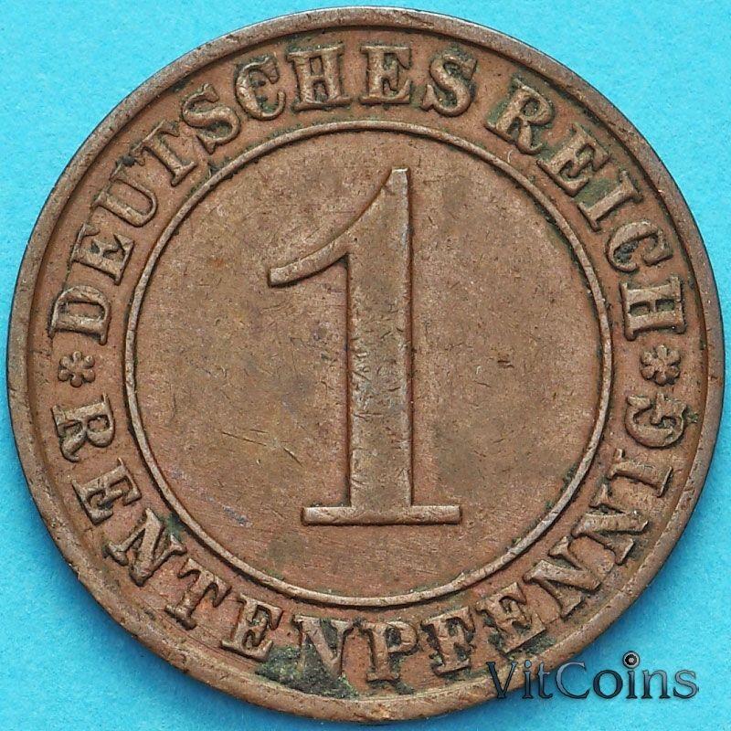 Монета Германия 1 рентенпфенниг 1924 год. А.