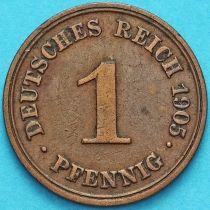 Германия 1 пфенниг 1905 год. D.