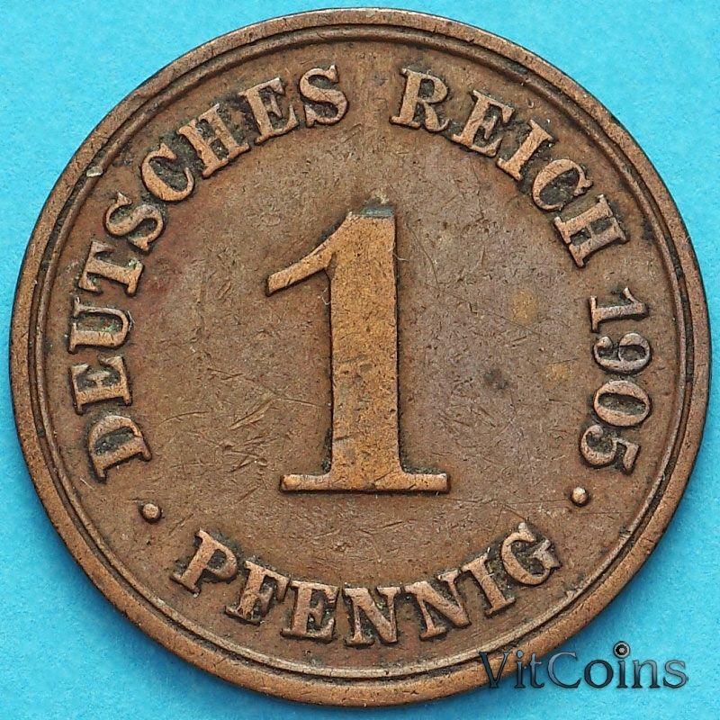 Монета Германия 1 пфенниг 1905 год. D.