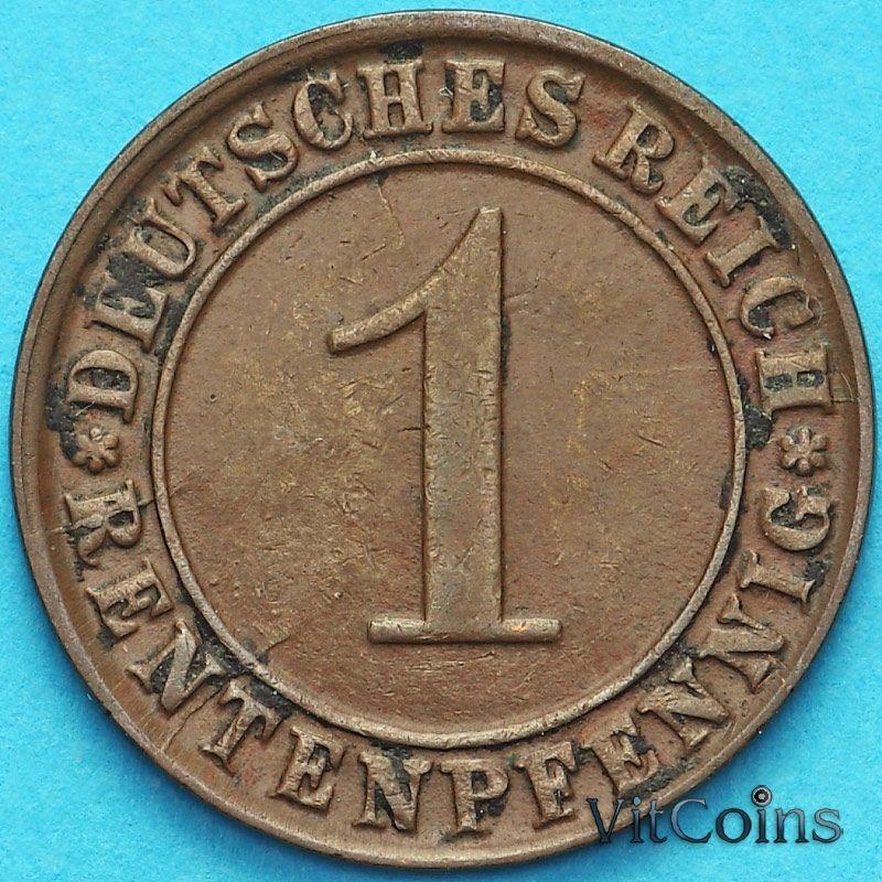 Монета Германия 1 рентенпфенниг 1924 год. D.