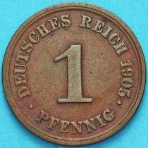 Германия 1 пфенниг 1905 год. Е.