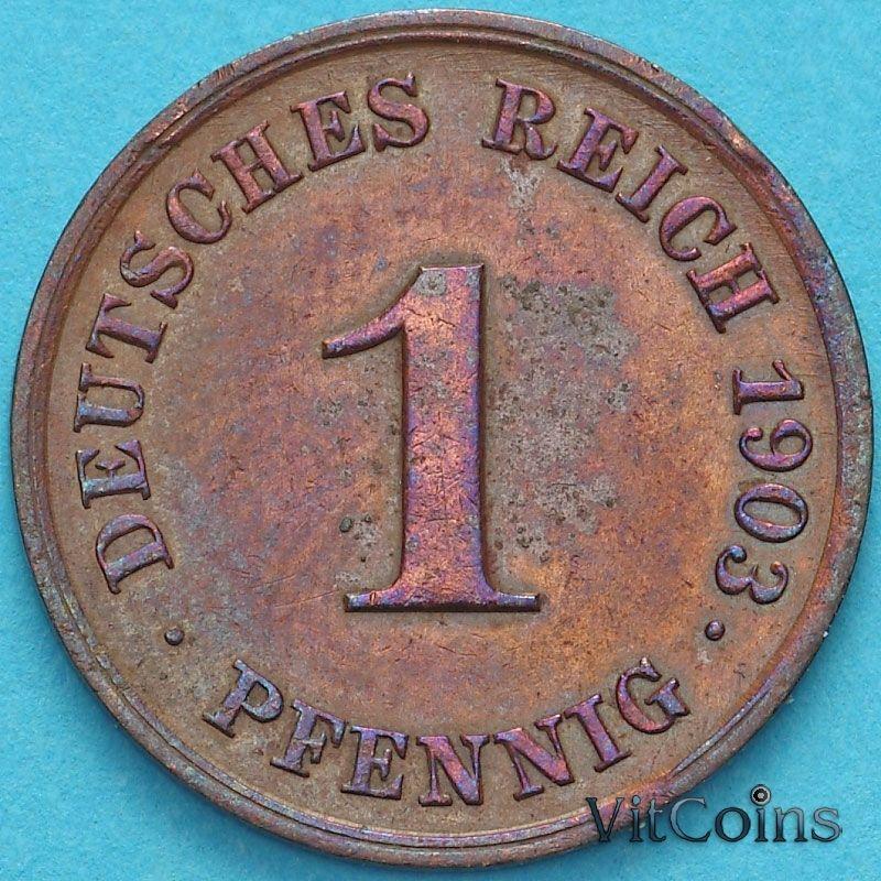Монета Германия 1 пфенниг 1903 год. J.