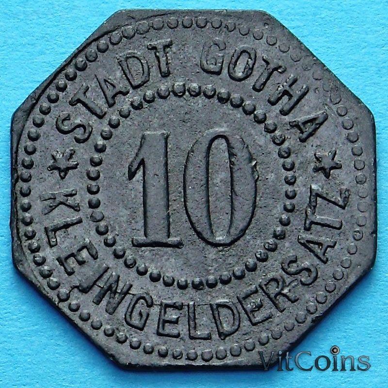 Монета Германии 10 пфеннигов 1917-1920. Нотгельд Гота.