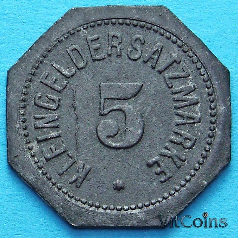 Монета Германии 5 пфеннигов 1917 год. Нотгельд Майнц.