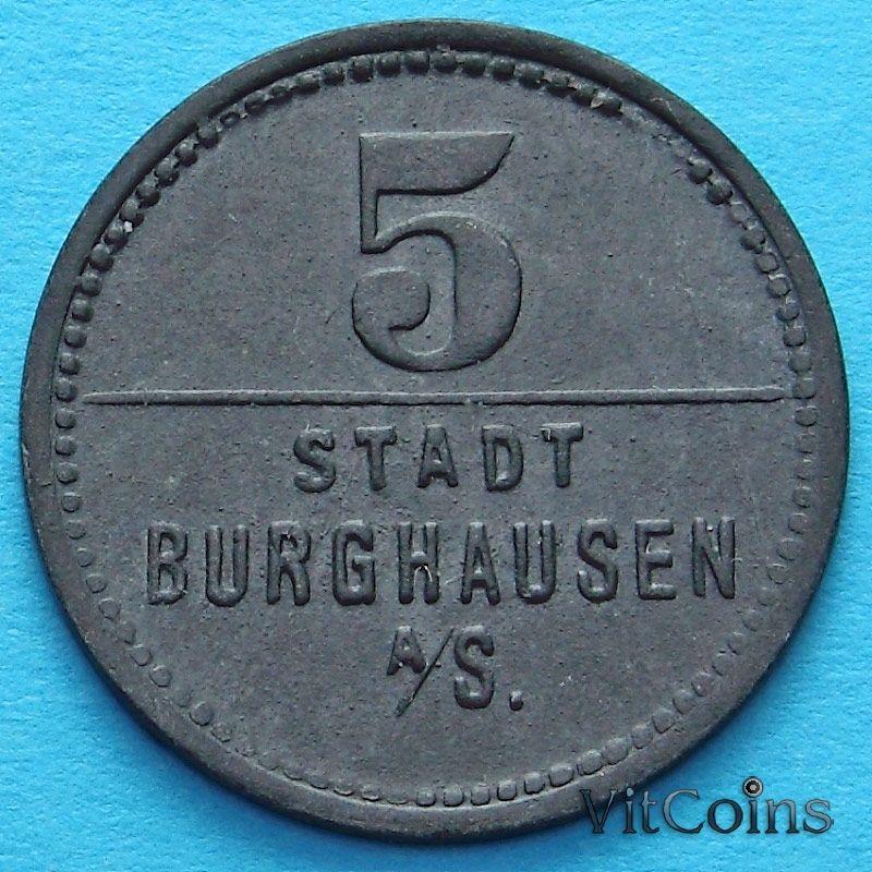 Монета Германии 5 пфеннигов 1918 год. Нотгельд Бургхаузен на Зальцахе.