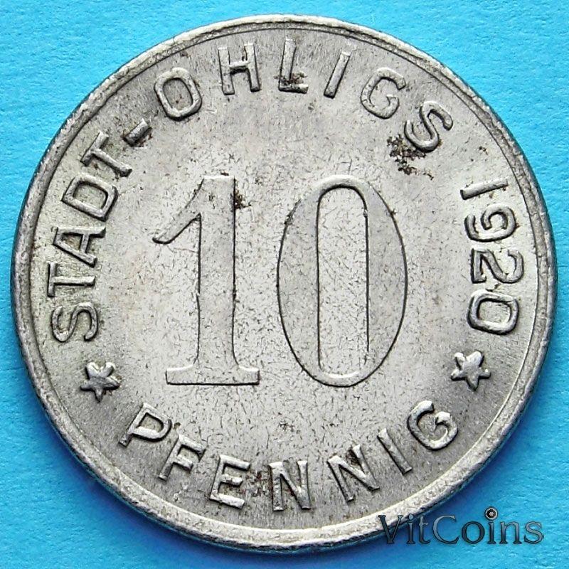 Монета Германии 10 пфеннигов 1920 год. Нотгельд Олигс.
