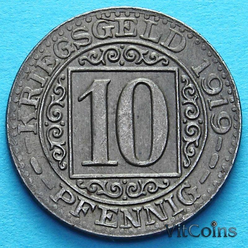 Монета Германии 10 пфеннигов 1919 год. Нотгельд Оберхаузен.
