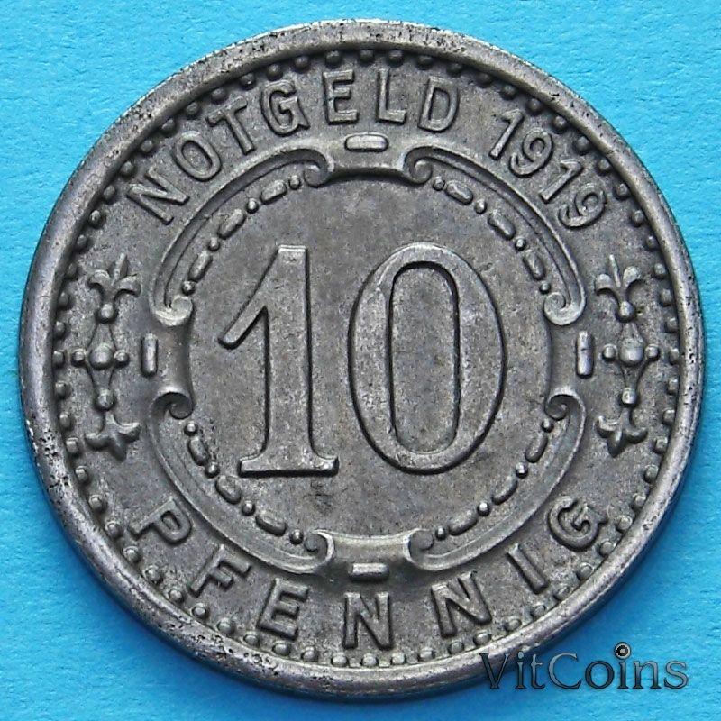 Монета Германии 10 пфеннигов 1919 год. Нотгельд Виттен.