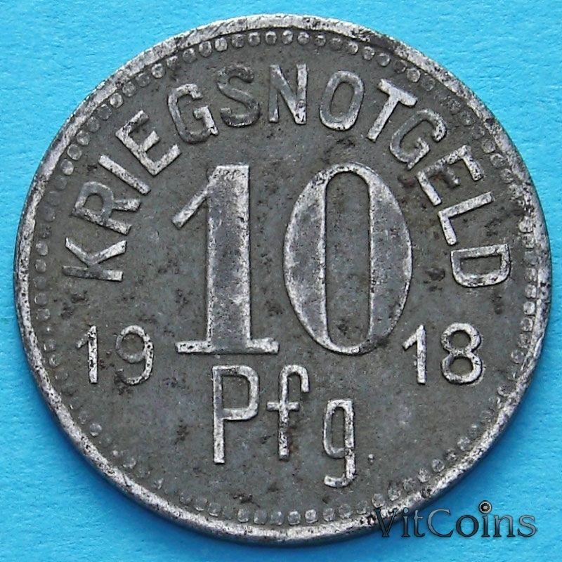Монета Германии 10 пфеннигов 1918 год. Нотгельд Апольда.