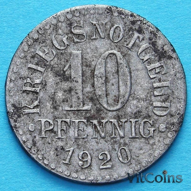 Монета Германии 10 пфеннигов 1920 год. Нотгельд Брауншвейг.