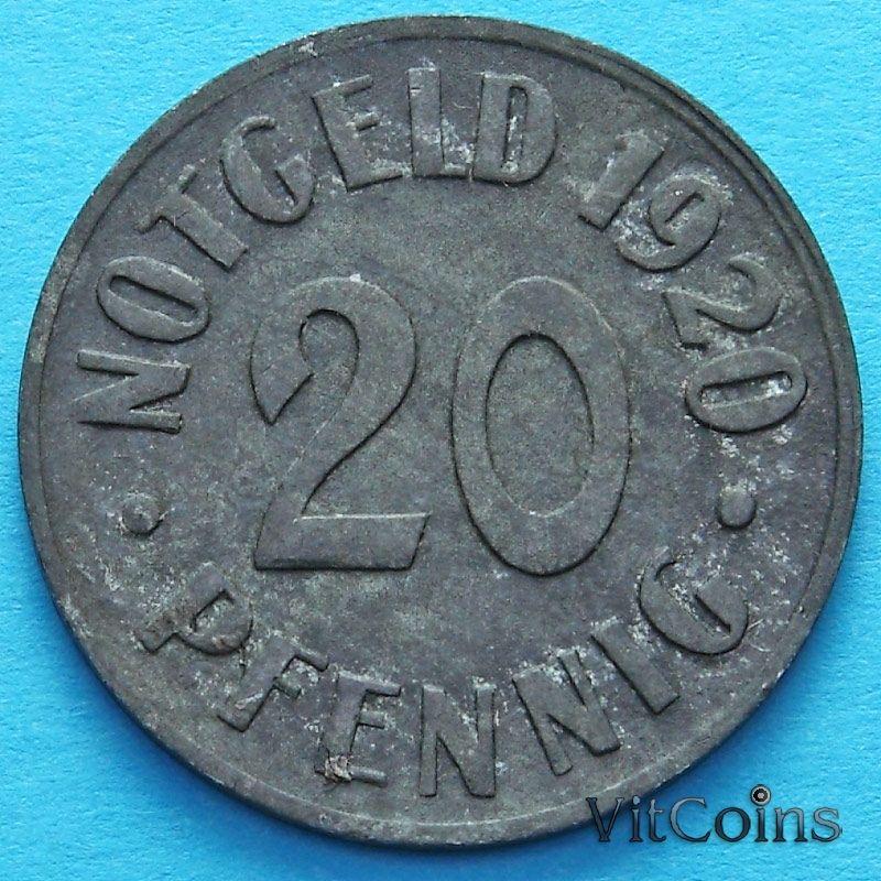 Монета Германии 20 пфеннигов 1920 год. Нотгельд Кассель.