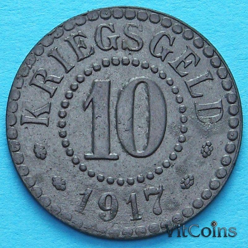 Монета Германии 10 пфеннигов 1917 год. Нотгельд Франкфурт на Одре.