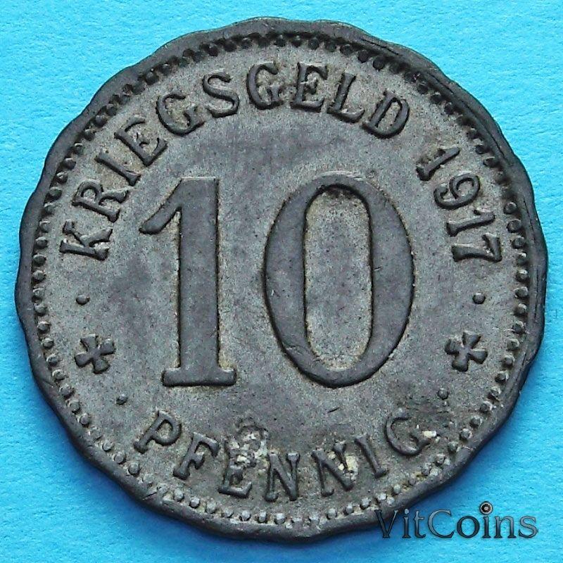 Монета Германии 10 пфеннигов 1917 год. Нотгельд Хаген.