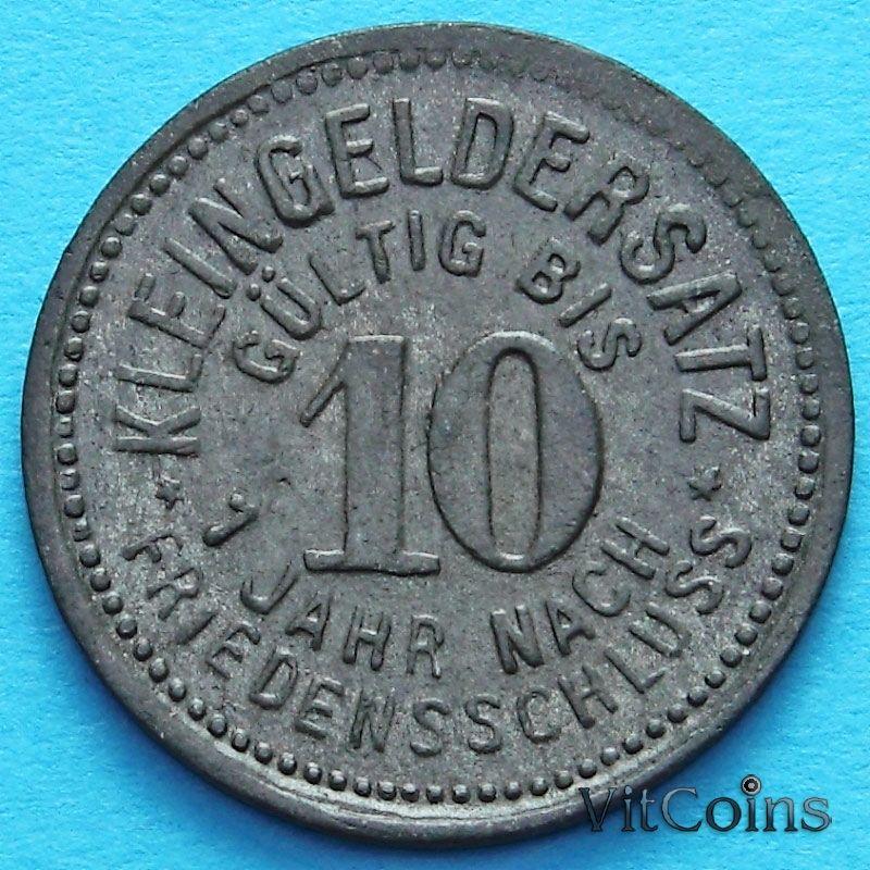 Монета Германии 10 пфеннигов 1918 год. Нотгельд Мойзельвиц