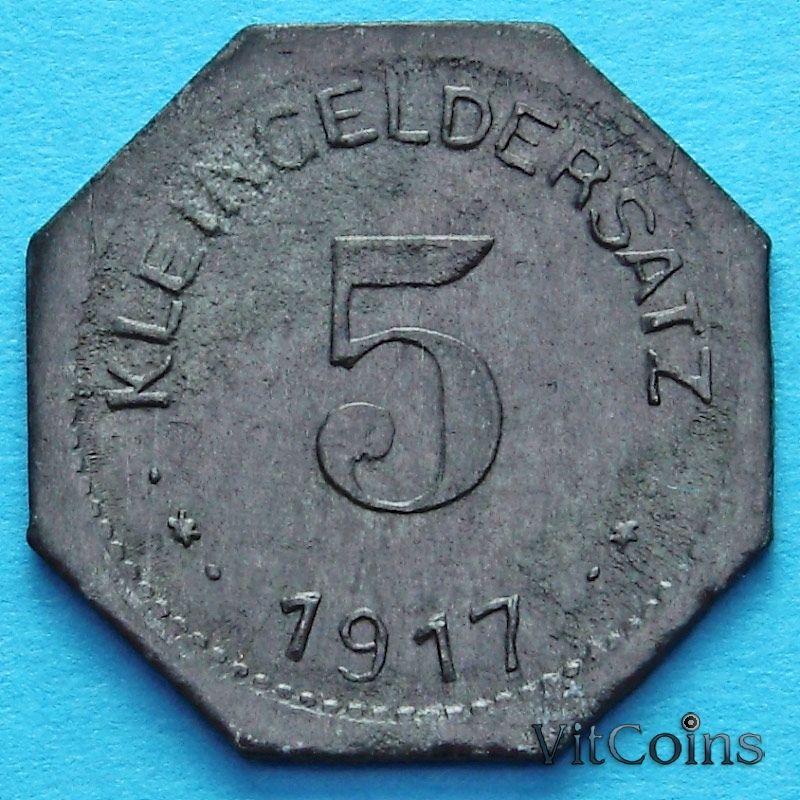 Монета Германии 5 пфеннигов 1917 год. Нотгельд Айслебен.