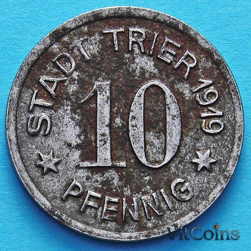 Монета Германии 10 пфеннигов 1919 год. Нотгельд Трир.