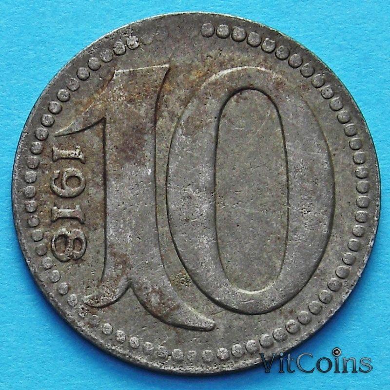 Монета Германии 10 пфеннигов 1918 год. Нотгельд Майнц.
