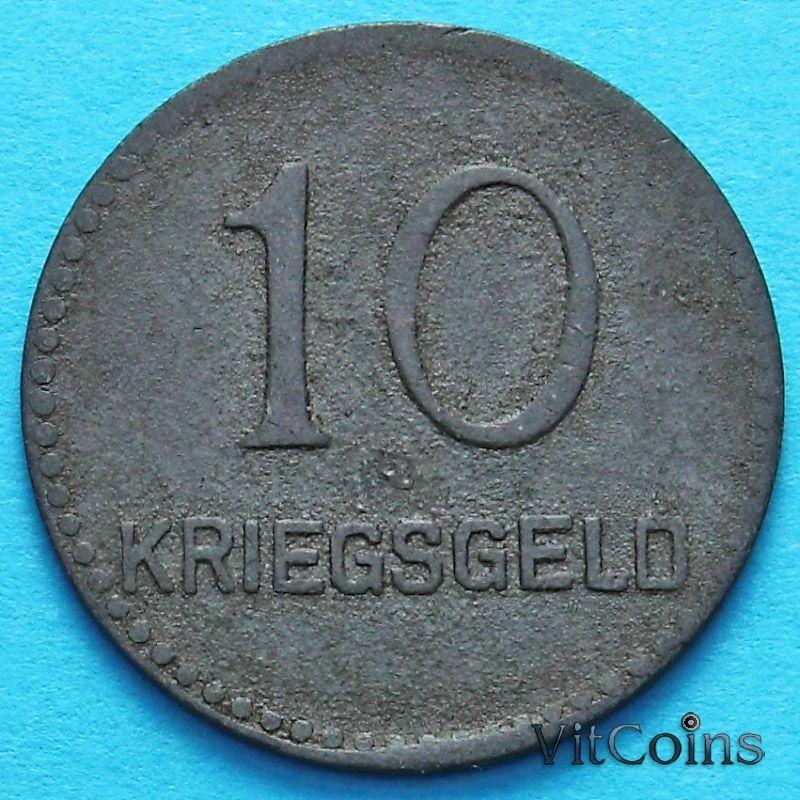 Монета Германии 10 пфеннигов 1917 год. Нотгельд Кайзерслаутерн.