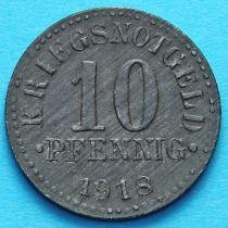 Германия 10 пфеннигов 1918 год. Нотгельд Брауншвейг. Цинк.