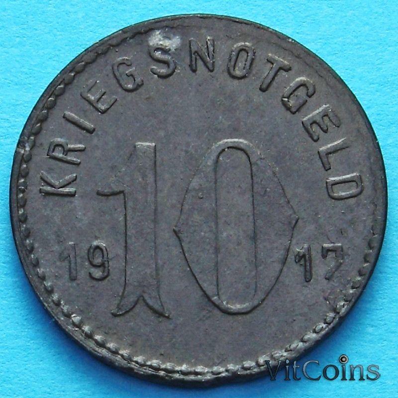 Монета Германии 10 пфеннигов 1917 год. Нотгельд Шпайер.
