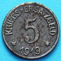 Германия 5 пфеннигов 1919 год. Нотгельд Крефельд.