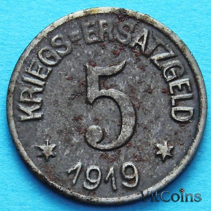 Монета Германии 5 пфеннигов 1919 год. Нотгельд Крефельд.