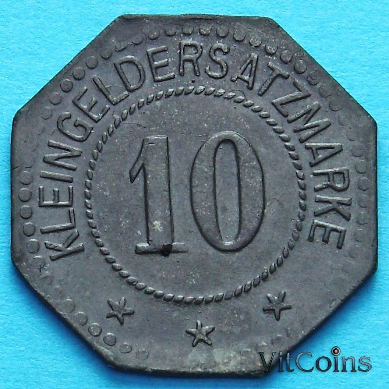 Монета Германии 10 пфеннигов 1917 год. Нотгельд Фленсбург.