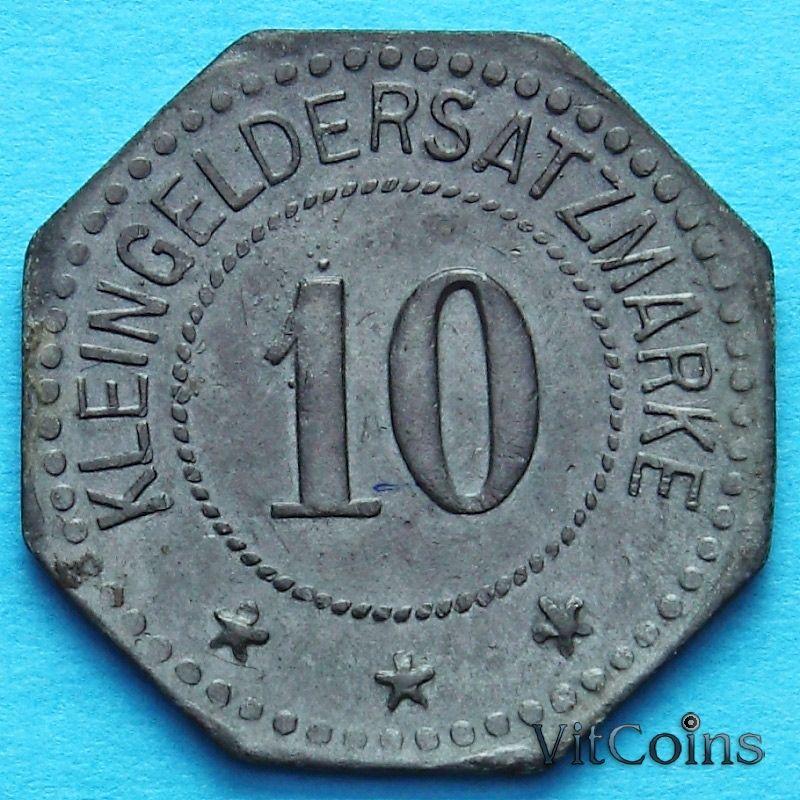 Монета Германии 10 пфеннигов 1917 год. Нотгельд Пирмазенс.
