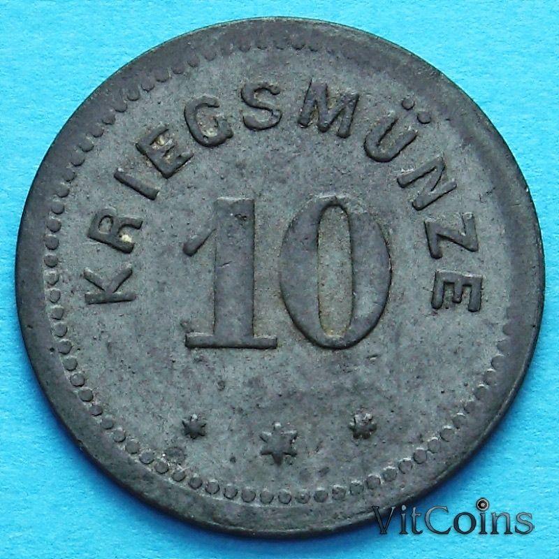 Монета Германии 10 пфеннигов 1917 год. Нотгельд Кемптен.