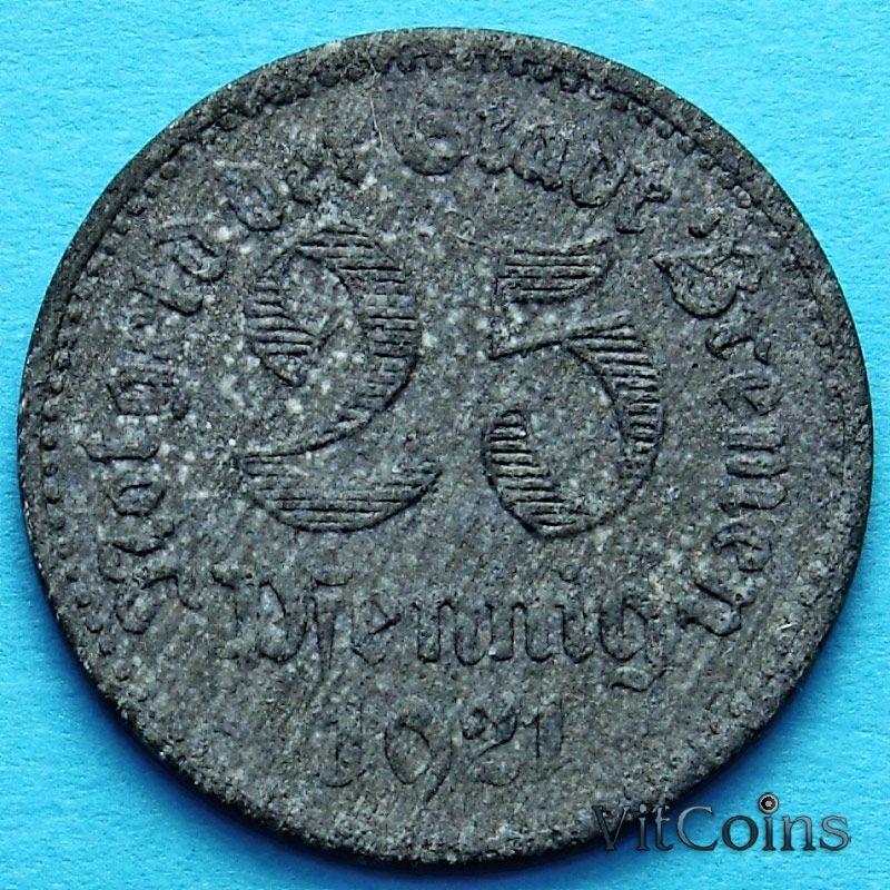 Монета Германии 25 пфеннигов 1921 год. Нотгельд Бремен.