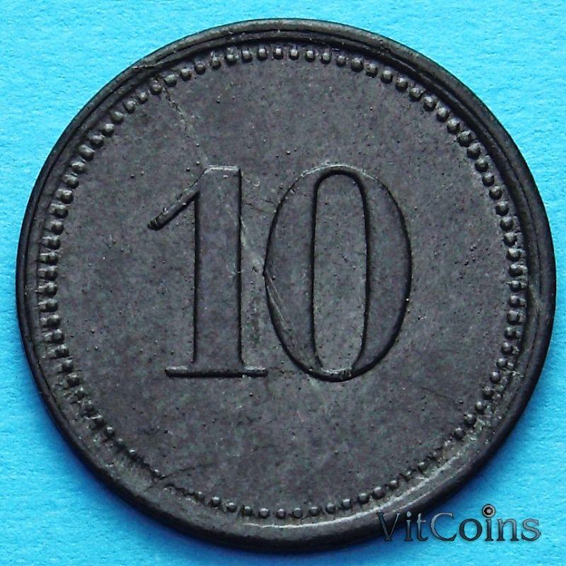 Монета Германии 10 пфеннигов 1917 год. Нотгельд Нордлинген.