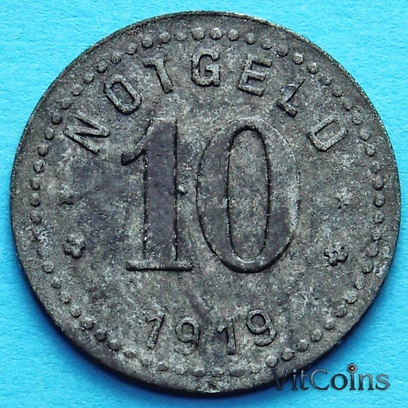 Монета Германии 10 пфеннигов 1919 год. Нотгельд Унтервезер.