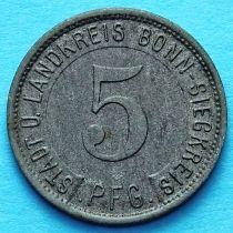 Германия 5 пфеннигов 1919 год. Нотгельд Бонн-Зиг.