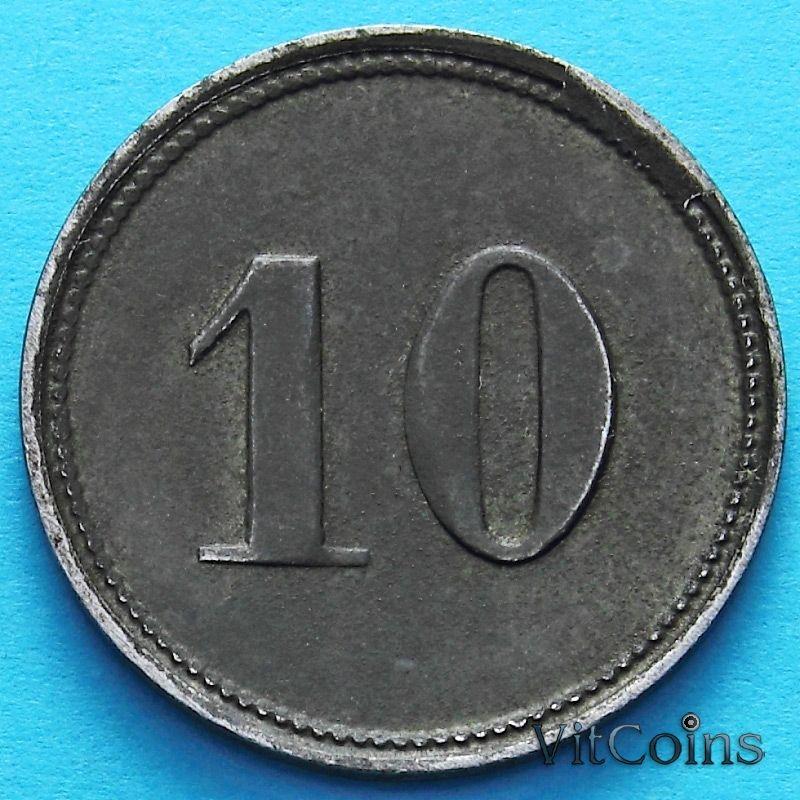 Монета Германии 10 пфеннигов 1920 год. Нотгельд Пёснек.