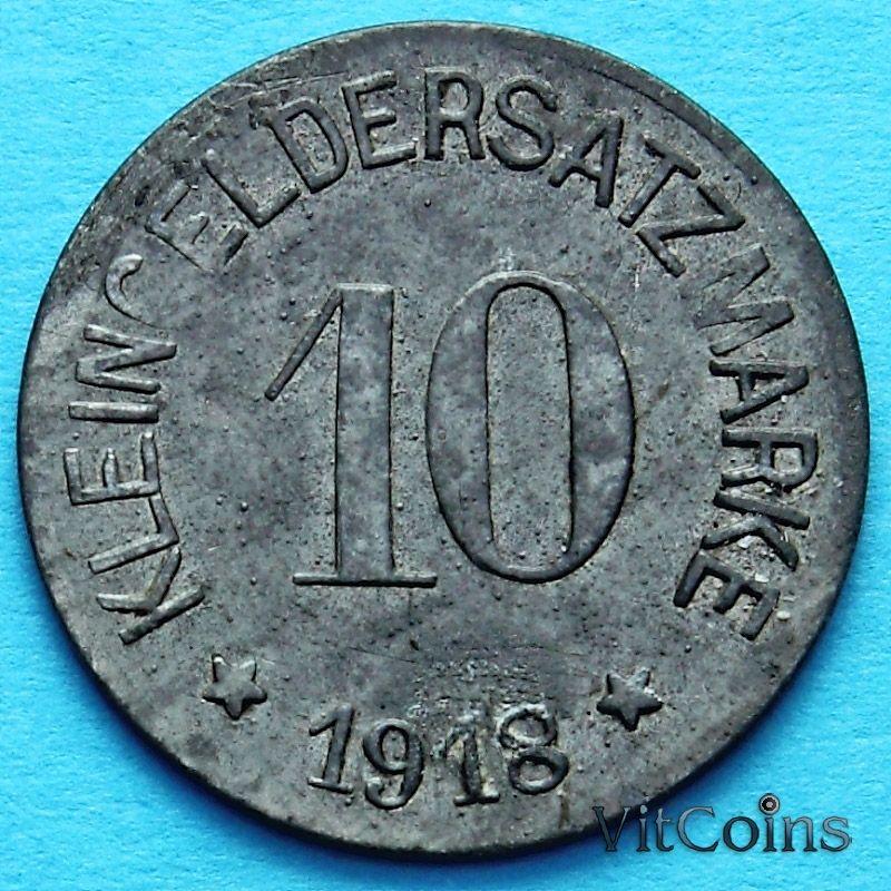 Монета Германии 10 пфеннигов 1918 год. Нотгельд Хоф.