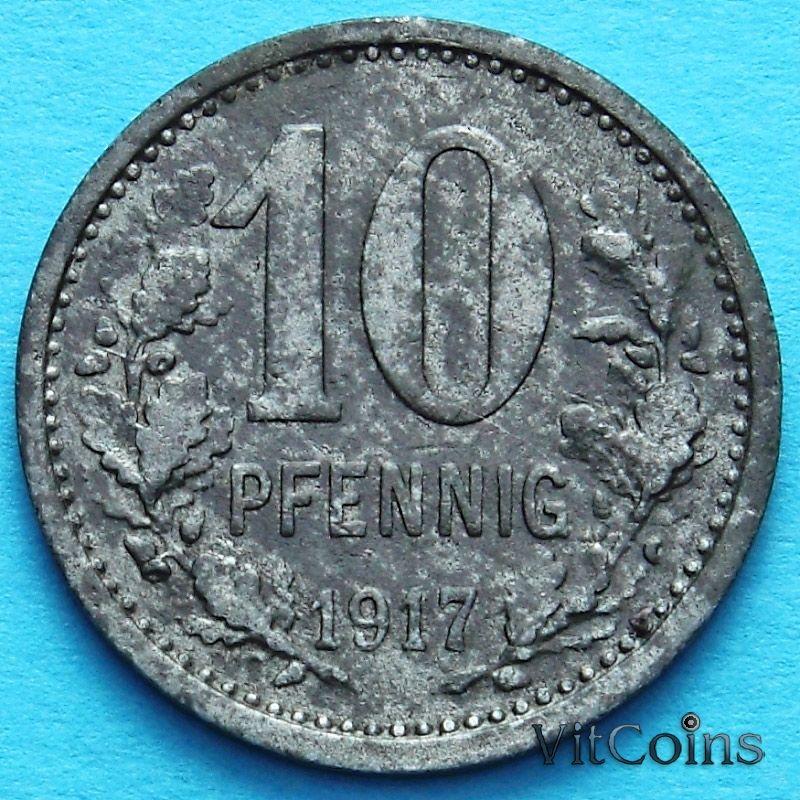 Монета Германии 10 пфеннигов 1917 год. Нотгельд Изерлон.