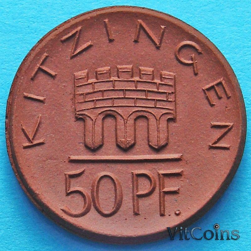 Монета Германии 50 пфеннигов 1921 год. Нотгельд Китцинген.