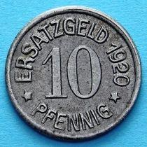 Германия 10 пфеннигов 1920 год. Нотгельд Цайц.