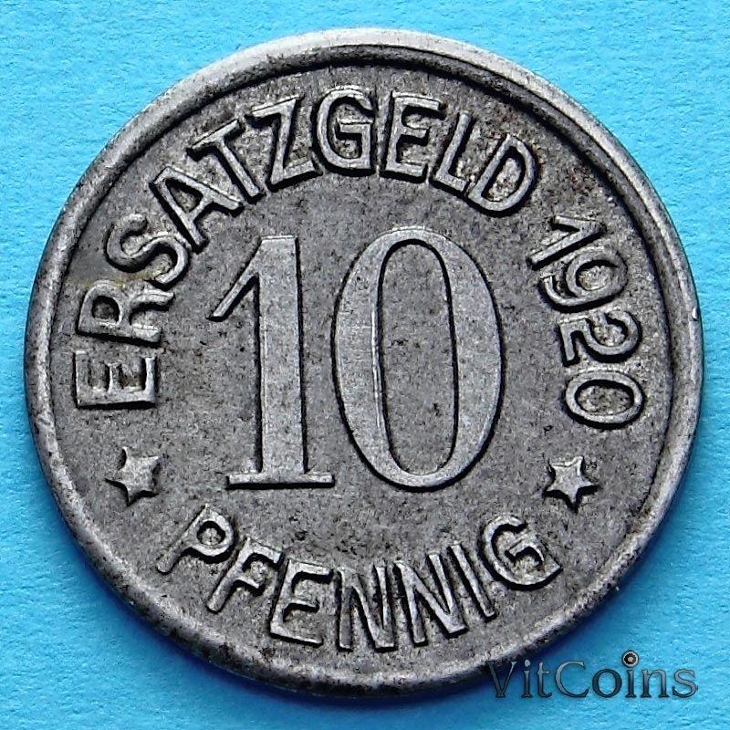 Монета Германии 10 пфеннигов 1920 год. Нотгельд Цайц.