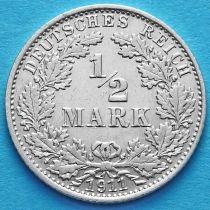 Германия 1/2 марки 1911 год. Серебро А.