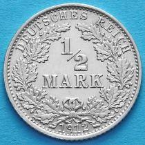 Германия 1/2 марки 1912 год. Серебро А.