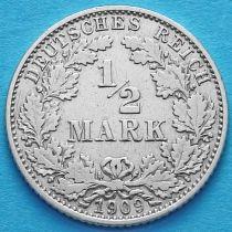 Германия 1/2 марки 1909 год. Серебро. D.
