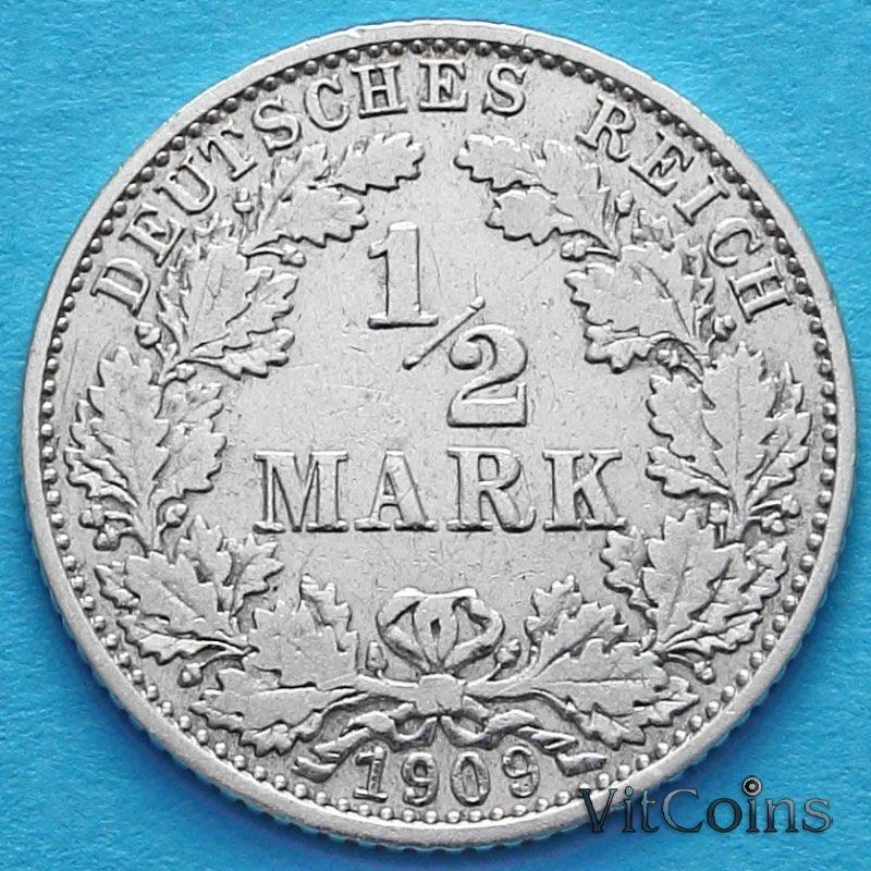 Монета Германии 1/2 марки 1909 год. Серебро. D.